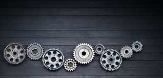 Black Cogs Technology Industry Background Stock Photos