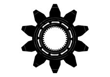 Black cogwheel on a white. Background Stock Images