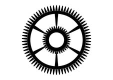 Black cogwheel on a white. Background, vector Stock Images