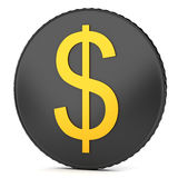 Black coin with dollar sign Stock Image