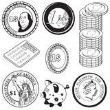 Black coin icons 2 Royalty Free Stock Images