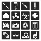 Black collection of  medical themed icons and warning-signs. Vector Icon Set Royalty Free Stock Image