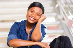 Black college girl Royalty Free Stock Photo