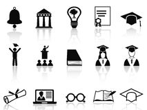 Black college icons set Royalty Free Stock Photos