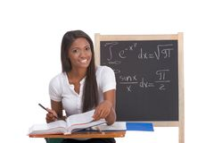 Black college student woman studying math exam Stock Photos