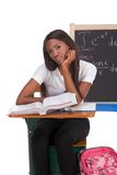 Black college student woman studying math exam Royalty Free Stock Photos