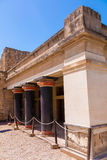 Black colonnade of Knossos. Black colonnade of of legendary Knossos palace, Crete, Greece Royalty Free Stock Photo