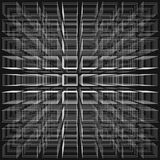 Black color abstract infinity background, 3d structure with white rectangles forming illusion. Of depth and perspective, vector illustration Stock Illustration