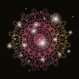 Black color background with brightness and colorful brilliant flower mandala vintage decorative ornament. Vector illustration Stock Images