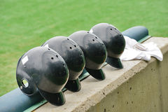 Black color Baseball helmets Royalty Free Stock Photo