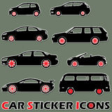 Black color car sticker icons Stock Image