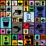 Black color coffee icons in colorful square background Royalty Free Stock Images