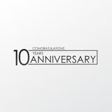 Black color elegant and simple 10 years anniversary. lines  design for family, shop, business, company, or various event. Elegant, simple, and minimum Stock Photography