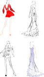 Black And Color Fashion  Sketches. Royalty Free Stock Photography
