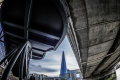 Black and color image overlooking the Shard Tower below London B Stock Image