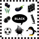 Black color. Learn The Color Black- things that are black color Royalty Free Stock Photos
