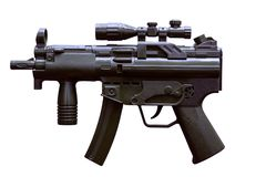 Black color machine toy gun with white background stock photo