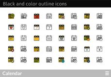 Black and color outline icons, thin stroke line style design. Black and color outline icons thin flat design, modern line stroke style, web and mobile design Royalty Free Stock Photography