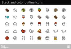 Black and color outline icons, thin stroke line style design. Black and color outline icons thin flat design, modern line stroke style, web and mobile design Royalty Free Stock Images