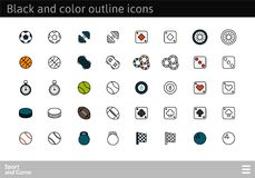 Black and color outline icons, thin stroke line style design. Black and color outline icons thin flat design, modern line stroke style, web and mobile design Royalty Free Stock Image