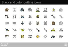 Black and color outline icons, thin stroke line style design. Black and color outline icons thin flat design, modern line stroke style, web and mobile design Stock Image
