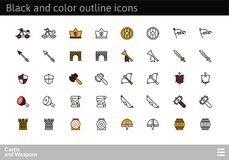 Black and color outline icons, thin stroke line style design. Black and color outline icons thin flat design, modern line stroke style, web and mobile design Stock Photos