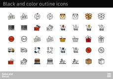 Black and color outline icons, thin stroke line style design. Black and color outline icons thin flat design, modern line stroke style, web and mobile design Stock Images