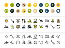 Black and color outline icons, thin stroke line style design. Black and color outline icons thin flat design, modern line stroke style, web and mobile design Royalty Free Stock Photos