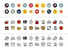 Black and color outline icons, thin stroke line style design. Black and color outline icons thin flat design, modern line stroke style, web and mobile design Stock Photography