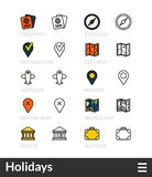 Black and color outline icons, thin stroke line style design Stock Photography