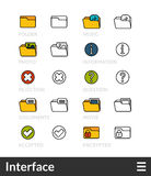 Black and color outline icons, thin stroke line style design Stock Photo