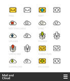 Black and color outline icons, thin stroke line style design Stock Images