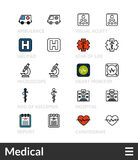 Black and color outline icons, thin stroke line style design Royalty Free Stock Images
