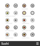 Black and color outline icons, thin stroke line style design Royalty Free Stock Photo