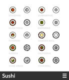 Black and color outline icons, thin stroke line style design Stock Image