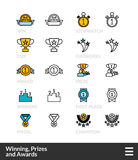 Black and color outline icons, thin stroke line style design. Black and color outline icons, slim line pictograms vector set 57 - Winning, Prizes and awards Stock Image