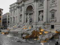 Black and color photo with Trevi Fountain in Rome, Italy Stock Image