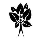 Black color tree trunk human with leaves shape heart to the reverse Royalty Free Stock Photos