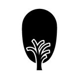 Black color tree trunk with leaves shape ovoid Stock Photo
