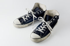 Black color vintage sneakers. Close-up photography Stock Images