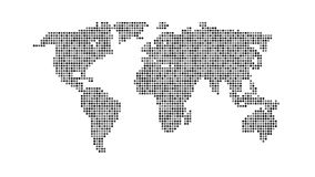 Black color world map isolated on white. Background. Abstract dotted flat template with dots for web design, brochure, flyer, annual report, banner, infographic Royalty Free Stock Photography