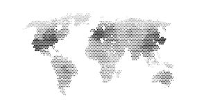 Black color world map. Isolated on white background. Abstract flat template with rectangles for web design, brochure, flyer, annual report, banner, infographic Royalty Free Stock Photography