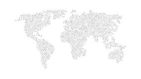 Black color world map isolated on white background. Abstract flat template with letters for web design, brochure, flyer, annual report, banner, infographic Royalty Free Stock Images