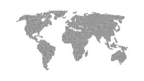 Black color world map isolated on white. Background. Abstract flat template with rectangles for web design, brochure, flyer, annual report, banner, infographic Stock Images
