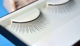 Black colored false eyelashes Stock Photos