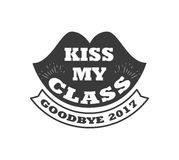 Black colored kiss my class text sign with the stars vector illustration. Logo badge kiss my class. goodbye 2017 label for graduating senior class, in black Stock Photos