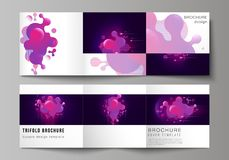 The black colored minimal vector layout. Modern creative covers design templates for trifold square brochure or flyer. Black background with fluid gradient vector illustration
