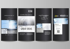 The black colored minimalistic vector illustration of the editable layout of four vertical banners, flyers design Stock Photo