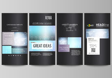The black colored minimalistic vector illustration of editable layout of four vertical banners, flyers design business Stock Images