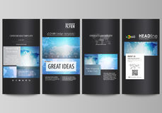 The black colored minimalistic vector illustration of the editable layout of four vertical banners, flyers design Royalty Free Stock Photography